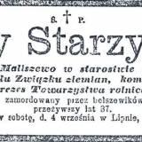 Lipno. Nekrolog Jerzego Starzyńskiego.