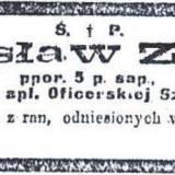 Nekrolog ppor. Zielińskiego.